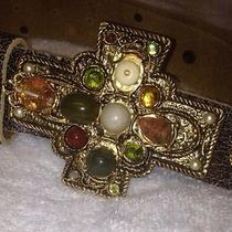 Arden B Leather Belt With Stone Buckle Photo