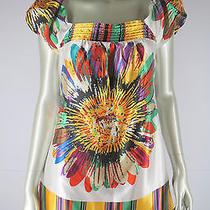 Arden B  M Striped Floral Bright Colorful Mod Pop Art Print Satiny Dress Med Photo