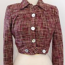 Arden B. Pink Purple Brown Woven Cropped Bolero Mother of Pearl Jacket Blazer S Photo