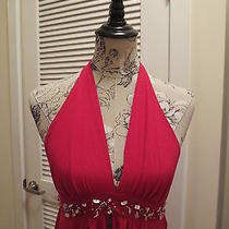 Arden B. Red Flowy Dress/top With Decorative Beading Mother of Pearl Bits Small Photo