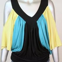 Arden B Top Small Aqua Yellow Jersey Cutout Shoulders Blouson Shirt Womens 4 6 Photo
