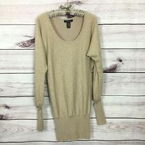 Arden B Women's S Gold Metallic Silk Blend Knit Tunic Sweater Dress Photo