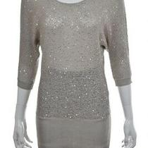 Arden B Womens Sweater Size S Gray Scoop Neck Metallic Shirt Top Blouse Photo