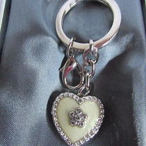 Argento Sc Heart Swarovski Crystal Silver Key Chain Key Chain Ring Nib Photo