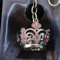 Argento Sc Jeweled Crown Key Chain W/purse Clip- 28 Pink  Swarovski Crystals Nib Photo