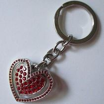 Argento Sc Keychain Red Rhinestone Heart Silver-Tone Swarovski Elements Gift Box Photo