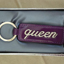 Argento Sc Queen  Key Chain/purse Dangler - Swarovski Crystal  & Leather Nib Photo