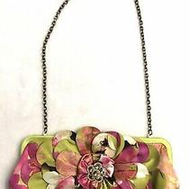 Aria Mary Frances Green Silk Flower Floral Chain Shoulder Bag Clutch Purse Gem Photo