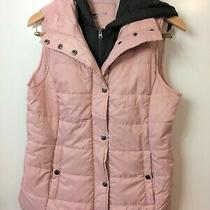 Arizona Women's Blush Pink & Gray Hooded Quilted Puffer Vest Size Large Zip Up  Photo