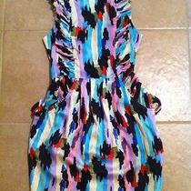 Ark & Co Anthropologie Backless Ruffle Pockets Animal Print Bright Color Dress S Photo