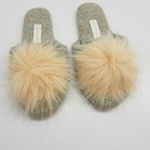 Arlotta Cashmere Slippers Grey Gray Pink Faux Fur Pom Pom  Small 5 -6 125 New Photo