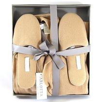 Arlotta Nwt Tan Cashmere Belted Robe Slide on Slipper Flat Shoe Box Set Sz M/l Photo