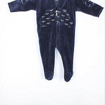 Armani Baby 6m/62 Cm Navy Blue Velour Body Suit Romper Photo
