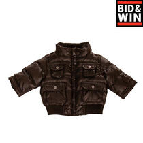 Armani Baby Down Quilted Jacket Size 6m Padded Ribbed Hem Full Zip Funnel Neck Photo