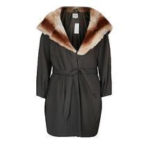 Armani Collezioni 4495 Rabbit Fur Hood Belted Coat 6/42 Oversize Hooded Jacket Photo
