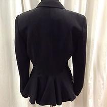 Armani Collezioni Black Black Silk Blend Jacket Blazer W/ Fluted Coat Tail Sz 6 Photo