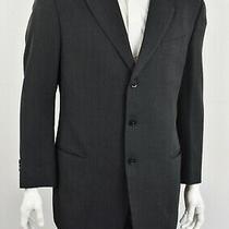 Armani Collezioni Black & Gray Textured Woven Wool 3-Bttn Sport Coat Blazer 44l Photo