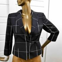 Armani Collezioni Black Gray Window Pane Jacket Blazer Italy Sz 8 Photo
