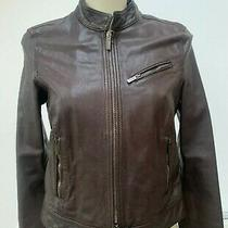 Armani Collezioni Brown Leather Jacket Size 10 It 42 Photo