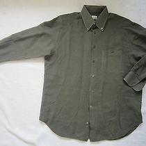 Armani Collezioni Button Down Linen Dress Shirt -Dark Olive Green- Size 16.5/42r Photo