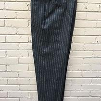 Armani Collezioni Chalk Stripe Brown Wool Pants Sz 35x32 Photo