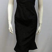 Armani Collezioni Dress Black Fluted Bottom Camellia Floral Print Size 48 12     Photo
