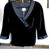 Armani Collezioni Elegant Black Velvet Jacket With Satin Trim Nwt Size8 Photo