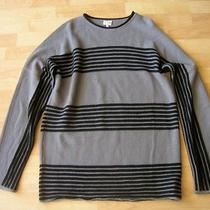 Armani Collezioni Gray & Black Striped Wool Crew Neck Sweater Size Xl New Photo