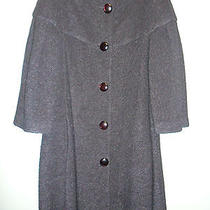 Armani Collezioni Italy Black Wool Acrylic Swing Coat 12 1995 Photo