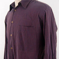 Armani Collezioni Italy Mens Maroon Striped L/s Button Front Rayon Shirt Large Photo