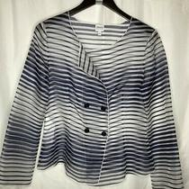 Armani Collezioni Jacket Sheer Navy and White Striped Silk Double Breast Size 10 Photo