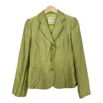 Armani Collezioni Lime Green Textured Blazer Jacket Wool Silk Italy Size 6 Photo