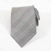 Armani Collezioni Made in Italy Gray Silk Blend Striped Pointed Necktie 57