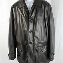 Armani Collezioni Men's Brown Lambskin Leather Water Repellent Jacket Coat 42 Photo