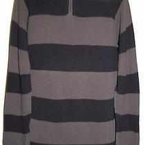 Armani Collezioni Men's Half Zip Purple Striped Cotton Italian Sweater Size L Photo