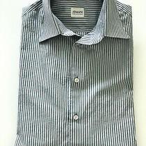 Armani Collezioni Men's Large Light Blue W/blue Striped Long Sleeve Dress Shirt Photo