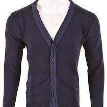 Armani Collezioni Mens Cardigan Sweater It 50 Large Navy Blue Cotton  Iu01 Photo