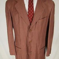 Armani Collezioni Mens Red Herringbone 3 Btn Linen Sport Coat 41r Italy Made Photo