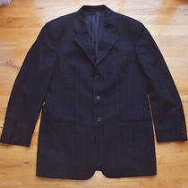 Armani Collezioni Navy Blue Plaid 3-Button Suit Jacket Blazer (38 Short) Italy Photo
