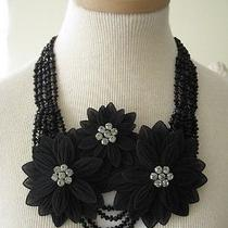 Armani Collezioni Necklace/belt Silk Flowers and Stones Black Nwt Photo