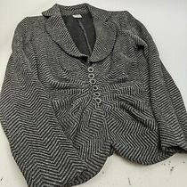 Armani Collezioni Sz 6 Gray Black Chevron Knit Blazer Jacket  Photo