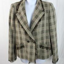 Armani Collezioni Women's Beige Brown Plaid Fringed Trim Blazer Jacket 52 18 Photo