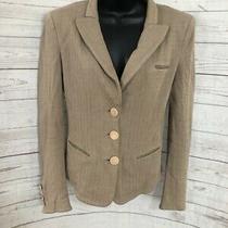 Armani Collezioni Women's Blazer Herringbone Tan Three Button Size 42 Photo