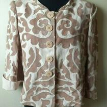 Armani Collezioni Women's Pastel Beige Blazer Jacket W/brown Suede Applique Sz 6 Photo