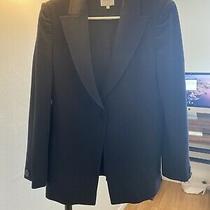 Armani Collezioni Women's Size 8 Dark Blue 1 Button 100% Wool Blazer Photo