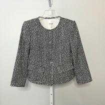 Armani Collezioni Women Size 8 Plaid Blazer Jacket Black White Career Italy Photo