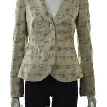 Armani Collezioni Womens Blazer Size 8 Ivory Gray Long Sleeve Career Jacket Photo