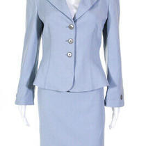 Armani Collezioni  Womens Blazer Skirt Suit Light Blue Lined Size 10 Photo