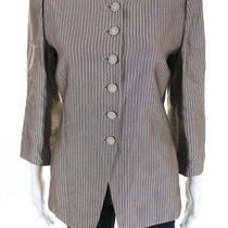 Armani Collezioni  Womens Button Down Blazer Taupe Metallic Size 10 Photo