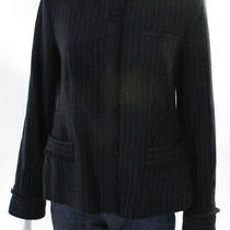 Armani Collezioni Womens Button Up Long Sleeve v-Neck Blazer Jacket Blue Size 10 Photo